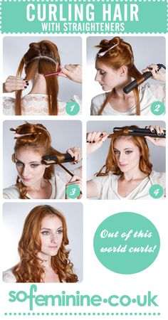 How to curl hair with straighteners. I can't seem to master this but I love the curls I get when I have it done.