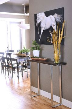 timber and chrome console table - love how narrow it is