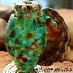 SEASCAPE CONCH SHELL  Large Handmade Lampwork Conch by HavanaBeads, $28.00