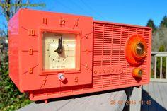 WATERMELON PINK Retro Jetsons 1957 Olympic Model 408 Tube AM Clock Radio Totally Restored!
