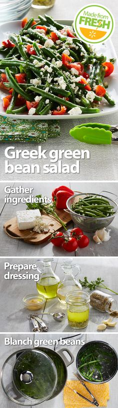 Fresh, crisp green beans, juicy tomatoes, and tangy feta cheese go Greek in this zesty salad that's packed with flavor and color. It's a treat for the mouth and the eyes! Find these fresh ingredients at your local Walmart. Veggie Dishes, Vegetable Recipes, Vegetarian Recipes, Cooking Recipes, Healthy Recipes, Budget Recipes, Fast Recipes, Salad Recipes, Side Dishes