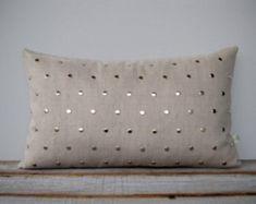 Studded Pillow Cover in Natural Linen by JillianReneDecor pattern Cute Pillows, Diy Pillows, Linen Pillows, Handmade Pillows, Sofa Pillows, Cushion Covers, Pillow Covers, Geometric Pillow, Pillow Cover Design