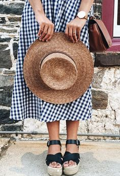 There's no denying gingham's enthusiastic involvement in your SS17 wardrobe, and trust, it's so appropes for any countryside escapes you've got planned. Rustic-up your fave gingham midi dress with espadrille wedges and finish with a chestnut cross-body bag and woven hat