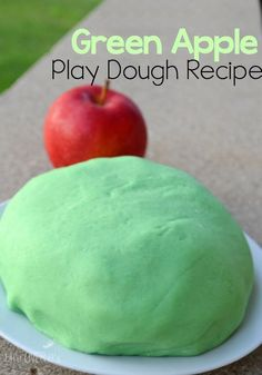 This green apple scented play dough recipe will be so much fun to play with!
