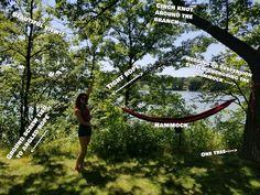 One-Tree Hammock System, Ultralight: 6 Steps (with Pictures) Outdoor Trees, Outdoor Life, Outdoor Fun, Outdoor Camping, Camping Outdoors, Backyard Hammock, Indoor Hammock, Hammocks, Hammock Ideas