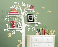 7 Shelf Tree - Kids Wall Stickers, Nursery Wall Decals + fun room accessories! - Leafy Dreams Nursery Decals.
