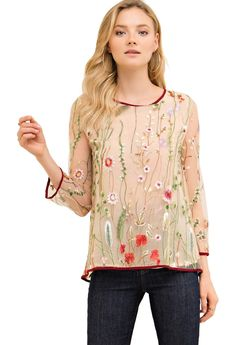 The embroidery on this double layer top makes us smile. It features a scoop neck, sheer sleeves, eyelets with self tie criss cross detailing on back and colorful embroidery on the top layer. Small Bust Length , Medium Bust L Large Bust Length Layered Tops, Floral Tops, Cool Style, Scoop Neck, Bloom, Embroidery, Criss Cross, Unique, Sleeves
