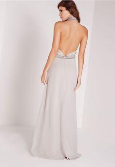 Embellished Neck Maxi Dress Grey - Missguided