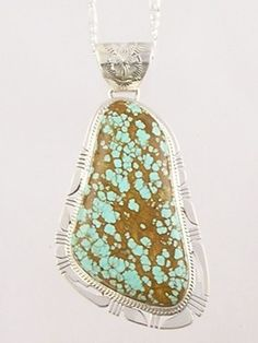 Large Webbed Number 8 Turquoise Gem Pendant