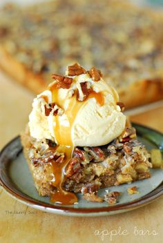 Caramel Pecan Apple Bars. Easy; starts with a cake mix and just gets better from there!!