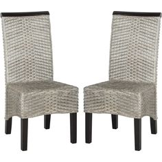 Safavieh Ilya Antique Grey Wicker Dining Chairs ($240) ❤ liked on Polyvore featuring home, furniture, chairs, dining chairs, grey, grey wicker chairs, set of two chairs, safavieh chair, gray wicker chairs and colored chairs