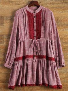 Long Sleeve Lace Bib Smock Dress - Wine Red