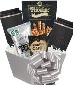 Beautiful combination gift baskets with items such as chocolates, snacks, coffee, wine, and more custom gifts and promotions. Coffee Gift Sets, Coffee Gifts, Corporate Gift Baskets, Corporate Gifts, Themed Gift Baskets, Client Gifts, Edible Gifts, Thank You Gifts, Tumblers