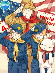 Hetalia (ヘタリア) - England, America, & Canada<<<help I'm dying of a cuteness overload!!!!