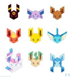 Trixel Geometric Eeveelutions: Umbreon, Espeon, Eevee, Flareon, Jolteon, Vaporeon, Sylveon, Leafeon and Glaceon.