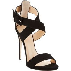 Barneys New York Crisscross-Strap Sandals ($179) ❤ liked on Polyvore featuring shoes, sandals, heels, chaussure, black criss cross sandals, black suede shoes, ankle strap heel sandals, ankle wrap sandals and ankle strap sandals