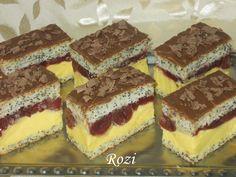 Rozi Erdélyi konyhája: Meggyes mákos sütemény Poppy Cake, Hungarian Recipes, Hungarian Food, Cake Bars, Strudel, Nutella, Tiramisu, Cheesecake, Muffin