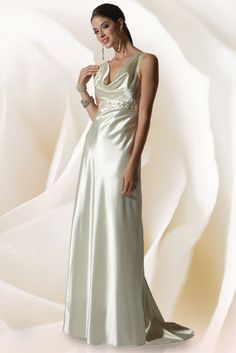 Jessica McClintock Stretch Charmeuse Bridal Gown with Scoop Neck @ jessicamcclintock.com
