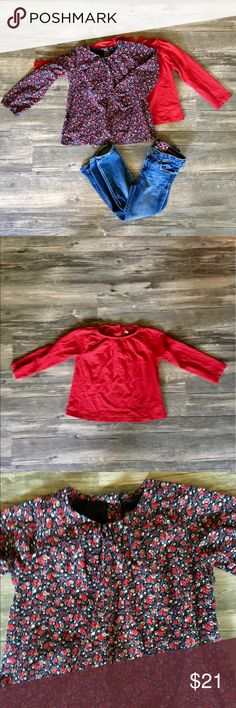 "Baby Gap Complete Outfit! Complete Baby Gap outfit! Includes a red ""play favorites"" tee, Floral cotton top with button Barack, and Baby Gap ""mini skinny"" jeans. Such an adorable outfit in EUC! Bundle two or more listings and save 20%! GAP Bottoms Jeans"