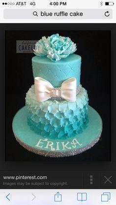 Blue ruffle ombré cake
