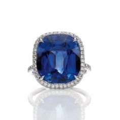Cushion Cut Sapphire Micropave Ring, 7.5 carats, set in platinum. Available at Harry Winston Bal Habour.