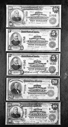 Top-Down : Ten dollar bill issued 1920, five dollar bill issued 1920, five dollar bill issued 1908, Twenty dollar bill issued 1903, ten dollar bill issued 1912. Bank notes--Florida Lake Hamilton, Lake Worth, Madison, Milton, & Palatka