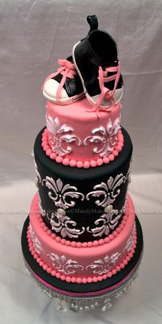 Damask baby shower cake!