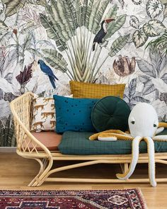 Here are some doable living room decor and interior design tips that will make your home cozy and comfortable for family and friends. Ideas Habitaciones, Kids Room Wallpaper, Eclectic Wallpaper, Bedroom Wallpaper, Kids Room Design, Kids Bedroom, Bedroom Decor, Bedroom Colors, Nursery Room
