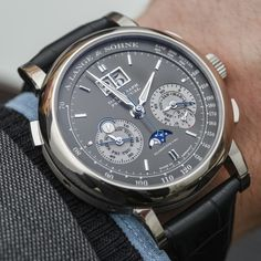 """A. Lange & Söhne Datograph Perpetual Watch Hands-On - on aBlogtoWatch """"If you are looking for a perpetual calendar watch from A. Lange & Söhne, you have some decisions to make. The German luxury watch maker happens to do perpetual calendar complications quite well, and rather than offer the perpetual calendar complication as part of one timepiece family, it offers perpetual calendar versions of various model families. One such watch happens to be a perpetual calendar version of the…"""