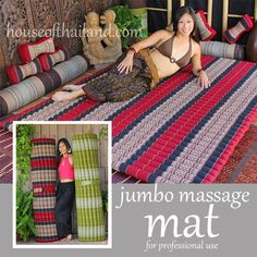 """Jumbo Thai Massage Mat. Organic Kapok Fill. 64"""" wide x 81"""" x 2"""" thick."""