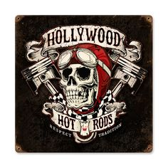 From the Hollywood Hotrods licensed collection, this Skull Pistons vintage metal sign measures 12 inches by 12 inches and weighs in at 1 lb(s). We hand make all of our vintage metal signs in the USA using heavy gauge american steel and a process known as sublimation, where the image is baked into...