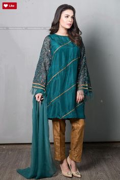 Maria B Suit Green Evening Wear 2017 Price in Pakistan famous brand online shopping, luxury embroidered suit now in buy online & shipping wide nation. Stylish Dress Designs, Designs For Dresses, Stylish Dresses, Simple Dresses, Casual Dresses, Stylish Dress Book, Pakistani Fashion Party Wear, Pakistani Outfits, Pakistani Clothing