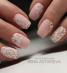 Bridal Nail Art Designs for Women in 2019 Page 15 of 20 Fashion wedding nails Bridal Nails Designs, Bridal Nail Art, Fall Nail Art Designs, White Nail Designs, Wedding Nails Design, Elegant Bridal Nails, Lace Nail Design, Vintage Wedding Nails, Wedding Nails For Bride