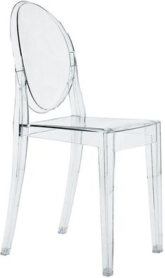 """""""Kartell Victoria Ghost Chair The comfortable and elegant Victoria Ghost Chair combines geometric, modern lines in the seat and legs with a rounded backrest that echoes the form of antique medallions. Navy Dining Chairs, Side Chairs, Beetle Chair, Plastic Folding Chairs, Island Chairs, Armchairs For Sale, Ghost Chairs, Chair Pillow, Chair And A Half"""