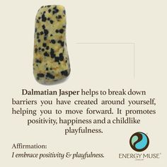 Dalmatian Jasper helps to break down barriers you have created around yourself, helping you to move forward. It promotes happiness and a childlike playfulness. #crystals