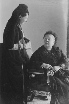 Victoria, Empress Frederick of Germany, and Queen Victoria, 1889 [in Portraits of Royal Children Vol.37 1888-1889]  Both queens are in mourning.