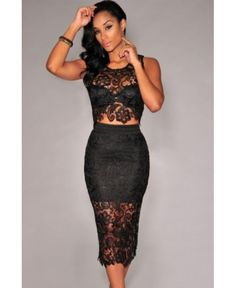 2015 women 2 piece skirt sets in club wear crop top bodycon skirt set Black Floral Lace Skirt Set conjunto cropped e saia Blouse And Skirt, Dress Skirt, Lace Skirt, Bodycon Dress, Skirt Set, Sheath Dress, Dirndl Skirt, Club Dresses, Long Skirts