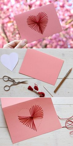 Von Herzen: Bestickte Muttertagskarte {DIY} DIY card with embroidered heart. Free instructions via b Valentine Day Cards, Valentines Diy, Saint Valentin Diy, Valentines Bricolage, Valentine's Day Outfit, Felt Hearts, Valentine's Day Diy, Diy Cards, Gifts For Him