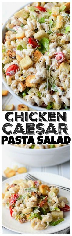 This Chicken Caesar Pasta Salad recipe is a delicious summer pasta loaded with produce, bacon and tender chicken.