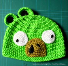 Crochet angry pig hat!