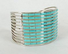Great summer bracelet !! Native American Zuni Sterling Silver Turquoise Inlay Spreadwire Bracelet