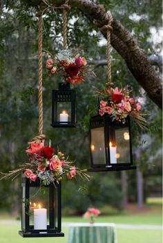 Hanging Lanterns with Candles