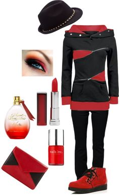 """""""Relaxed Red & Black"""" by in2song on Polyvore"""