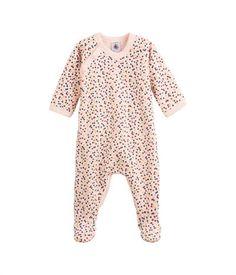 Dors bien bébé fille en jersey envers éponge à pois pailleté rose Fleur / jaune Dore - Petit Bateau