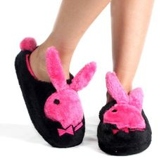 Black Pink Playboy Black Bunny Hopper Slippers