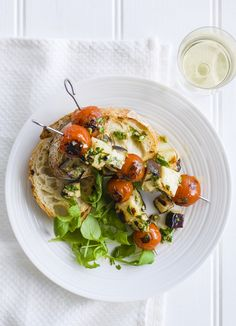 Halloumi, tomato and aubergine skewers: Make an easy marinade for BBQ vegetarian halloumi skewers. Add tomatoes and aubergine and grill on the barbecue. Piled on to crusty bread these will be a hit.