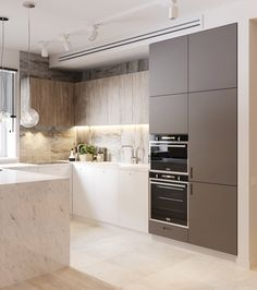 58 Most Stunning Modern Marble Kitchen Kitchen Room Design, Kitchen Cabinet Design, Modern Kitchen Design, Home Decor Kitchen, Interior Design Kitchen, New Kitchen, Kitchen Wood, Kitchen Colors, Kitchen Cabinets