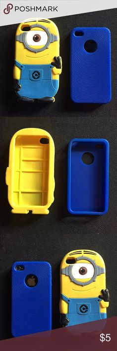 Set of (2) iPhone 4s cases Set of (2) iPhone 4s cases, both are a silicon/rubber like material  -Blue case in like new condition, was only used for a few days -Minion case in good condition, had a small tear but was super glued and stays on phone with no problems (see last pic) Accessories Phone Cases