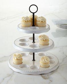 Bianca Bead Three-Tier Cupcake Stand
