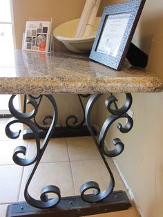 Granite Countertops for all of Tennessee. Local owned Granite Warehouse open to the public! Wrought Iron Decor, Wrought Iron Gates, Iron Table, A Table, Furniture Projects, Furniture Making, Granite Remnants, Granite Table Top, Iron Furniture